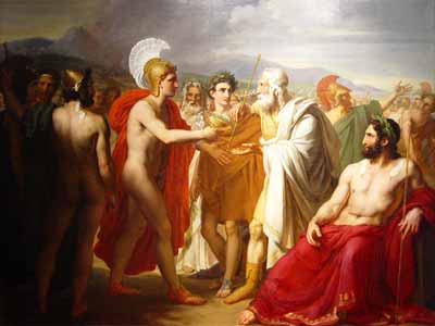 Agamemnon Watches as Achilles Presents the Prize of Wisdom to Nestor during the Funeral Games