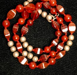 Necklace Of Antique Carnelian And Silver Beads