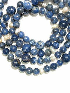 Freshwater Pearl and Sodalite Bead Necklace
