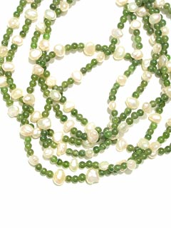 Necklace Of Freshwater Pearls And Jade Beads