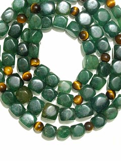 Necklace Of Aventurine And Tiger's Eye Beads