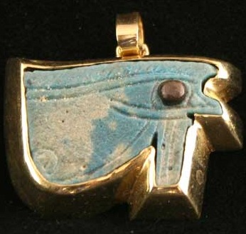 Gold Pendant Featuring a Faience Eye of Horus Amulet