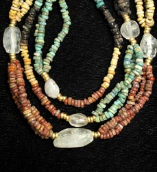 Necklace Of Egyptian Faience, Gold & Rock Beads