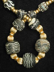 Necklace of Glass and Gold Beads from the Iron Age