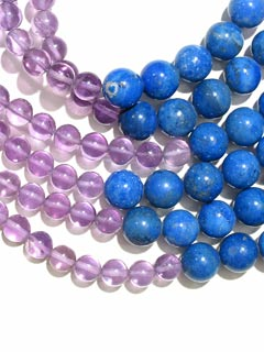 Amethyst Bead and Lapis Lazuli Bead Necklace with a 14 Karat Gold Clasp