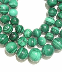 Necklace Composed Of Malachite Beads With A 14 Karat Gold Clasp