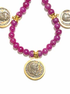 Ruby Bead Necklace Featuring Three Roman Silver Denarii of Emperors Trajan, Vespian, and Hadrian