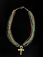 Egyptian Faience Bead Necklace With A 18 K Gold Ankh And A 18K Gold Clasp