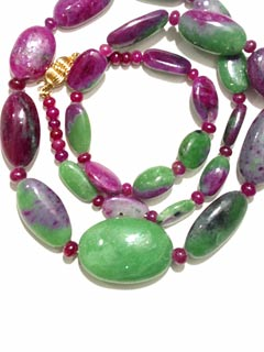 Rare Ruby Bead With Green Mineral Necklace And A 14 Karat Gold Clasp