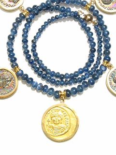 Sapphire Beaded Necklace Featuring Four Roman Silver Denarii and a Byzantine Gold Solidus