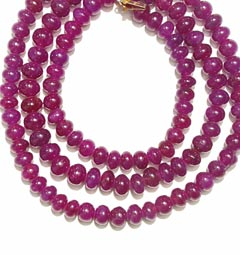 Ruby Bead Necklace Of 205 Carats - With A 14 Karat Gold Clasp