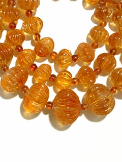 Citrine Bead Necklace with Gold Clasp