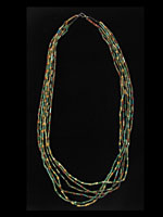 Six Strand Egyptian Faience  Bead Necklace