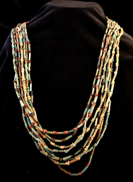 Eight Strand Egyptian Faience  Bead Necklace