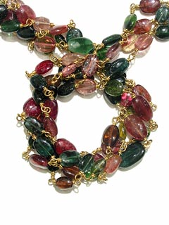 Tourmaline Bead Necklace Linked by a Gold Chains