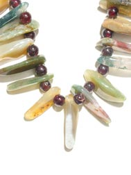 Agate and Garnet Bead Necklace