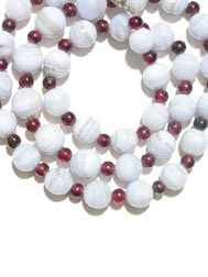 Chalcedony Bead and Garnet Bead Necklace