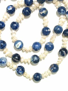 Pearl and Sodalite Bead Necklace