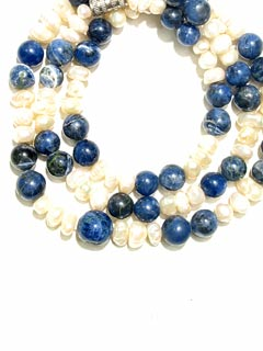 Cultured Pearl and Sodalite Bead Necklace