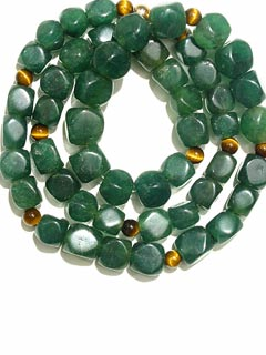 Aventurine Bead and Tiger's Eye Bead Necklace