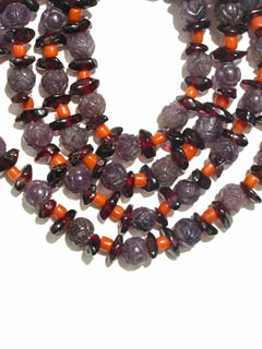 Amethyst Bead, Garnet Bead, and Coral Bead Necklace