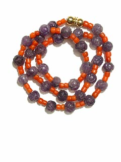 Amethyst Bead and Coral Bead Necklace
