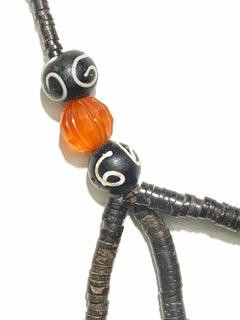 African Coconut Shell Trade Beads-Venetian Glass