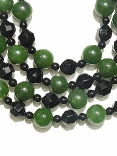 Black Onyx And Jade Bead Necklace