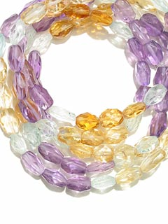 Amethyst, Citrine And Aquamarine Bead Necklace