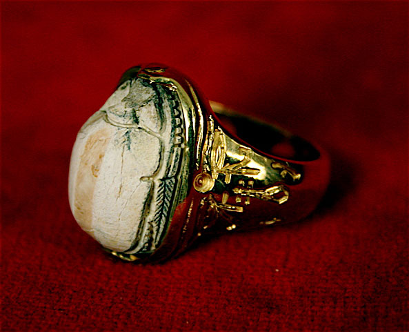Egyptian Scarab in an 18 Karat Gold Ring
