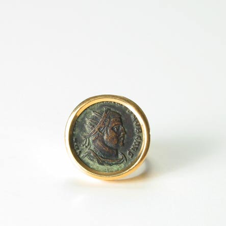 Roman Bronze Coin Ring Of Emperor Diocletian