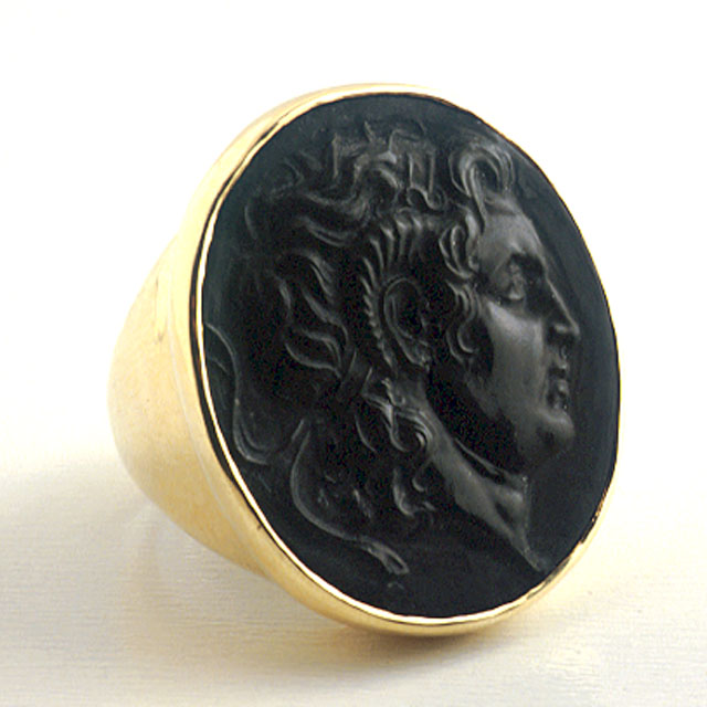 Gold Ring with Classical Revival Cameo of Alexander the Great