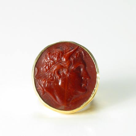 Jasper Cameo Depicting a Head of A Greek King