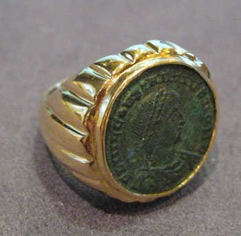 Bronze Coin Set into Gold Ring