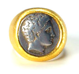 24 Karat Gold Ring Featuring a Silver Coin of Phalanna