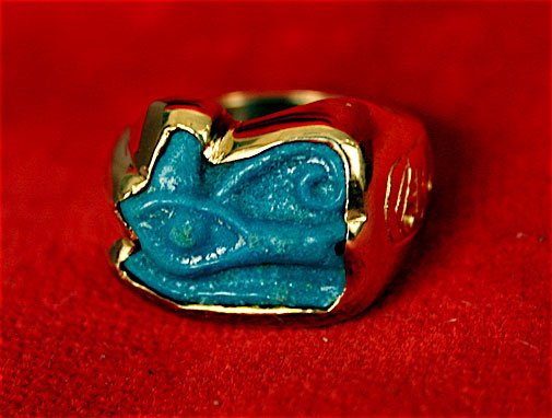 Gold Ring with Faience Eye of Horus Amulet -