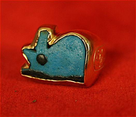 Gold Ring with Faience Eye of Horus Amulet