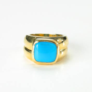 Square-Shaped Turquoise Ring
