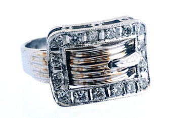 14k White Gold Ring,  Set With 16 Diamonds .70c