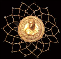 Gold Hair Medallion Depicting A Goddess