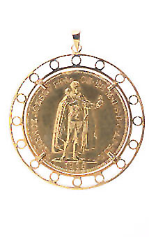 Gold Pendant with Gold Coin of Austro- Hungarian Emperor Franz Josef