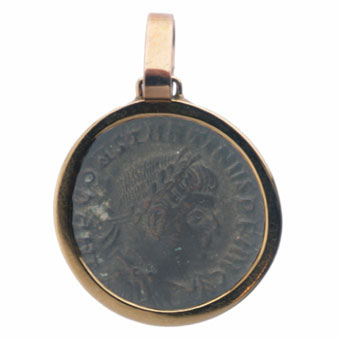 Gold Pendant with Bronze Coin of Emperor Constantine the Great
