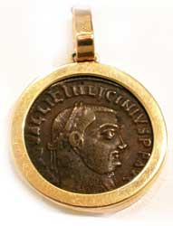 Gold Pendant with Bronze Coin of Emperor Licinius