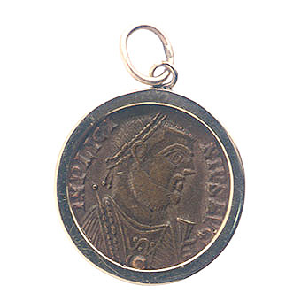 Gold Pendant with Bronze Coin of Emperor  Licinius II