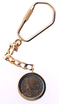 Keychain Featuring a Roman Bronze Coin Of Emperor Constantine The Great