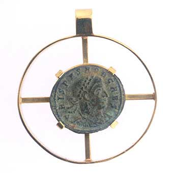 Gold Pendant with Bronze Coin of Emperor Crispus