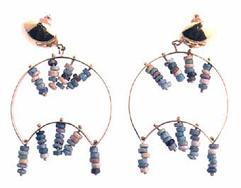 Egyptian Faience Beads Set In 18k Earrings