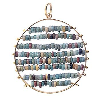 Egyptian Faience Beads Set In An 18k Pendant