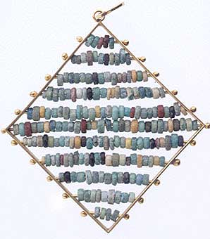 Egyptian Faience Beads Set In 18k Gold Pendant