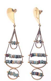 Egyptian Faience Beads Set In 18k Gold Earrings